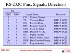 rs 232c pins signals directions