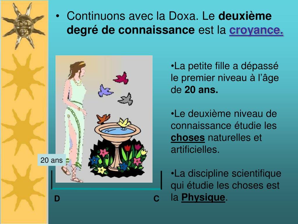 Continuons avec la Doxa. Le