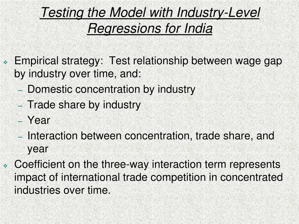 Testing the Model with Industry-Level Regressions for India