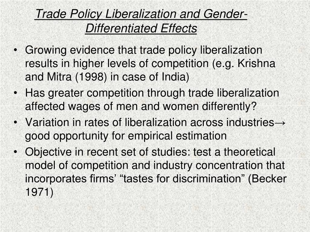 Trade Policy Liberalization and Gender-Differentiated Effects