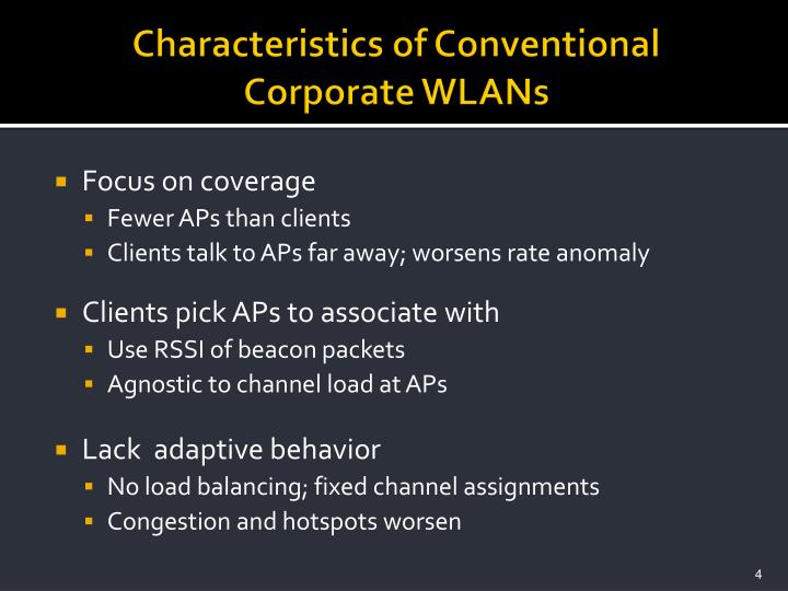 Characteristics of Conventional Corporate WLANs