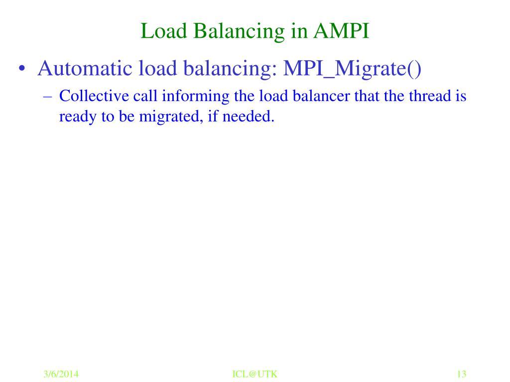 Load Balancing in AMPI