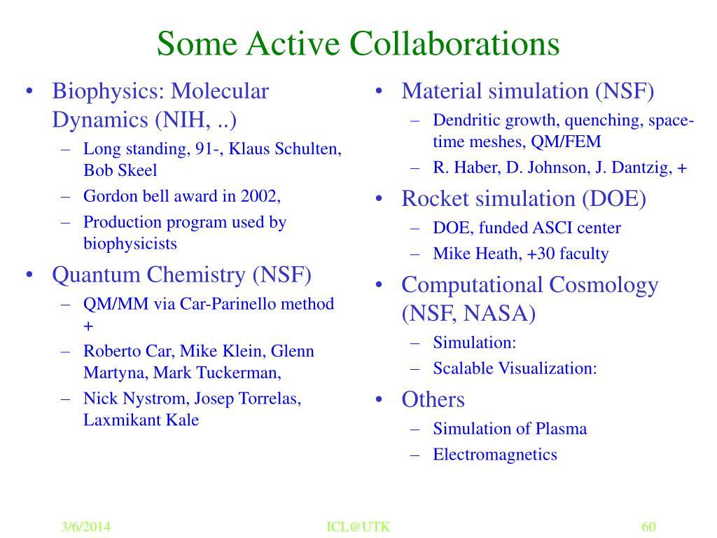 Biophysics: Molecular Dynamics (NIH, ..)