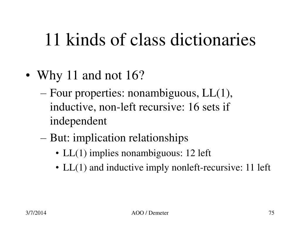 11 kinds of class dictionaries