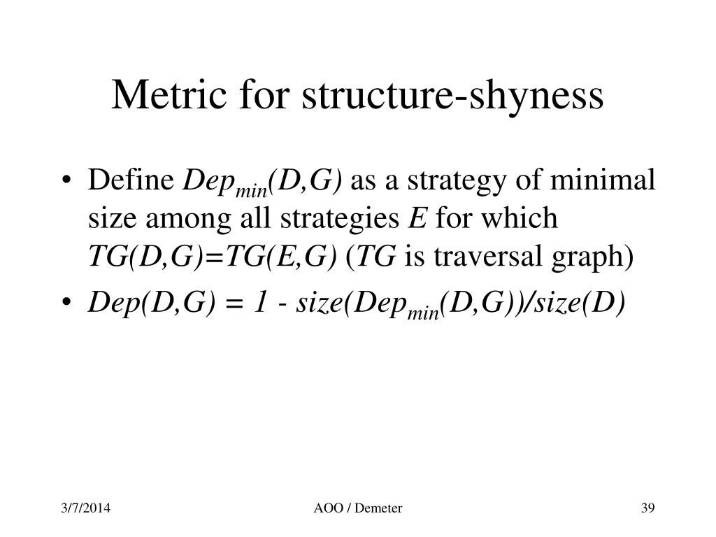 Metric for structure-shyness