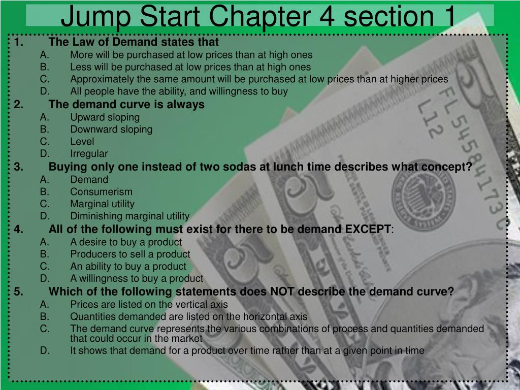 Jump Start Chapter 4 section 1