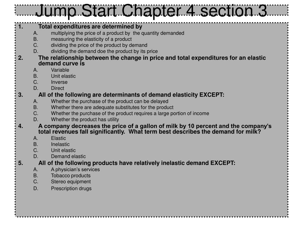 Jump Start Chapter 4 section 3