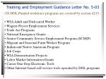 training and employment guidance letter no 5 03