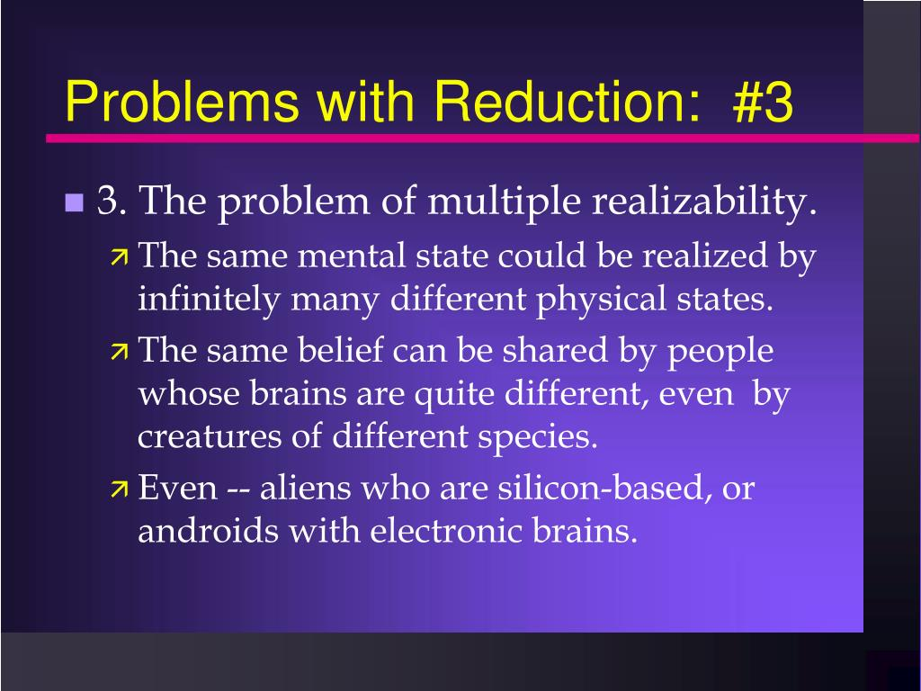 Problems with Reduction:  #3