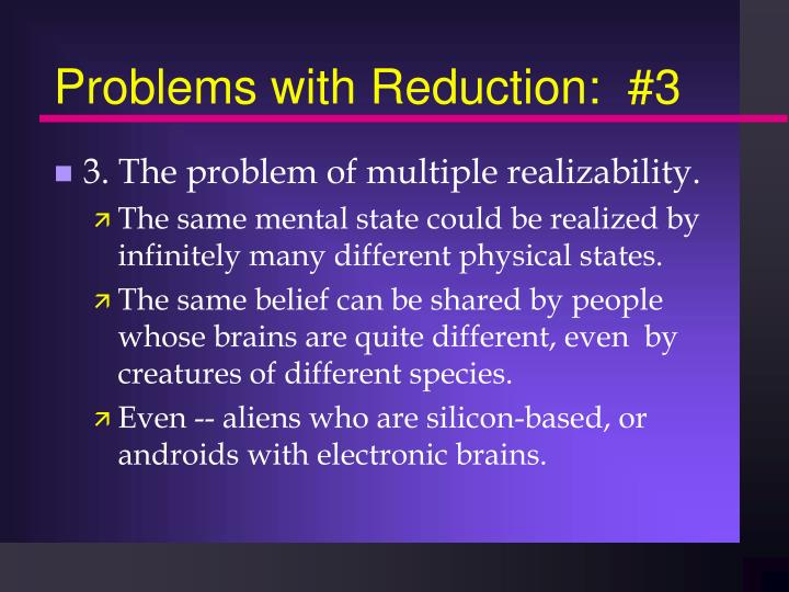 Problems with reduction 3