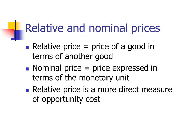 Relative and nominal prices