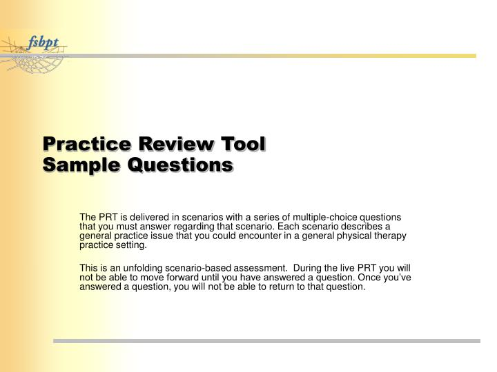 Practice review tool sample questions