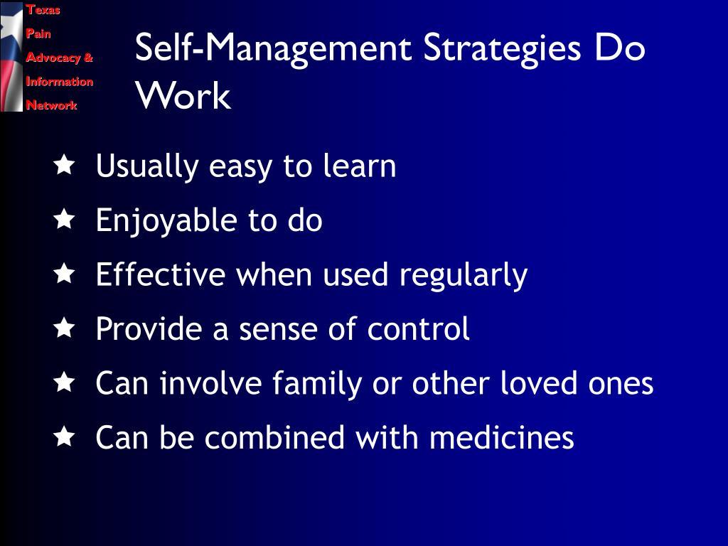 Self-Management Strategies Do Work