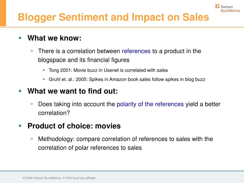 Blogger Sentiment and Impact on Sales