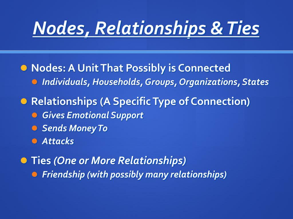 Nodes, Relationships & Ties