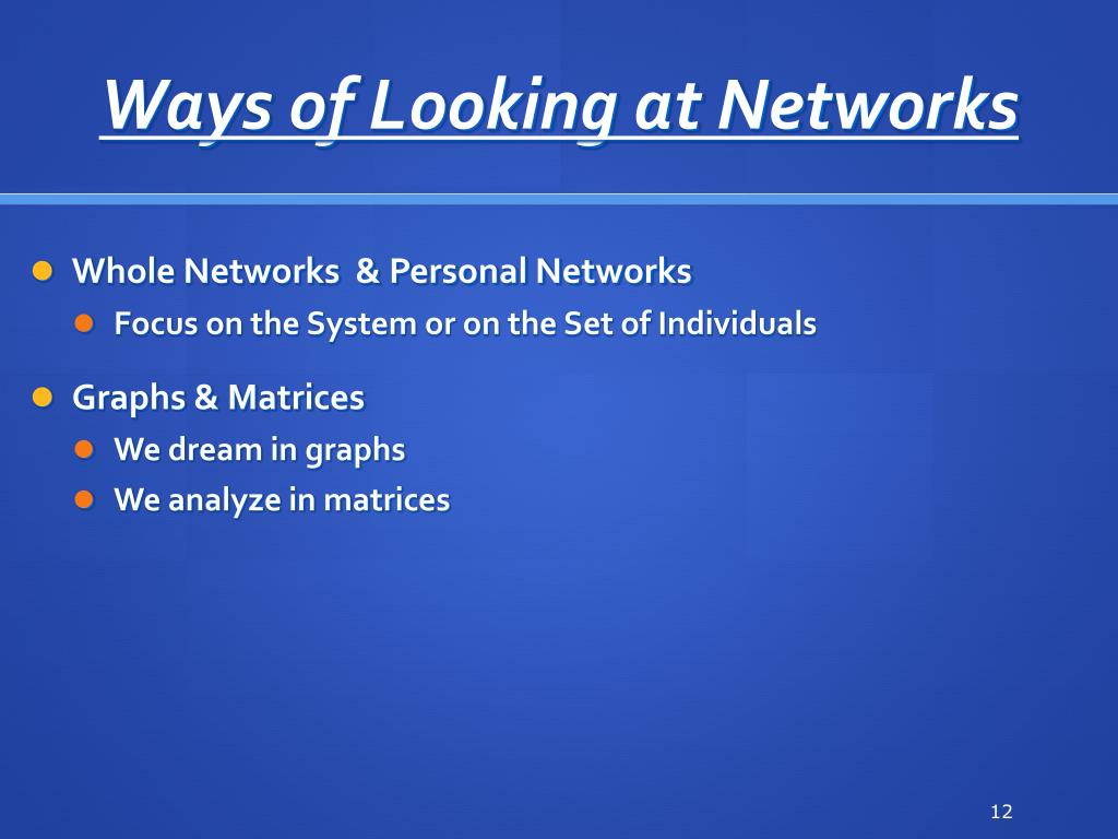 Ways of Looking at Networks