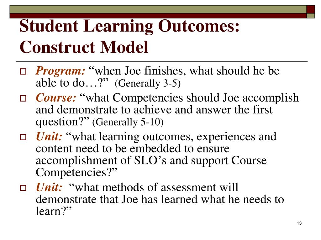 Student Learning Outcomes: Construct Model