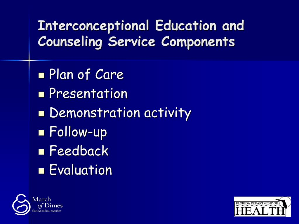 Interconceptional Education and Counseling Service Components