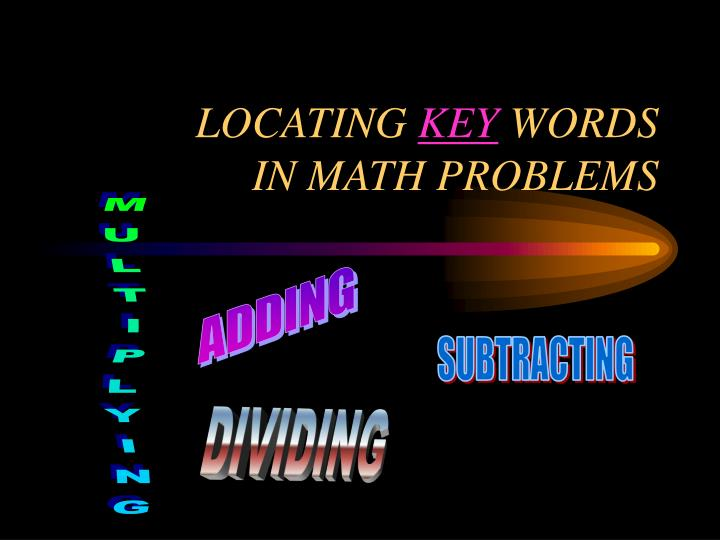 Locating key words in math problems