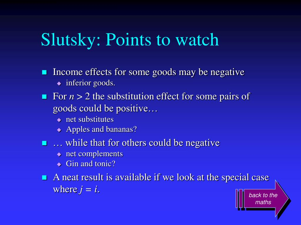Slutsky: Points to watch