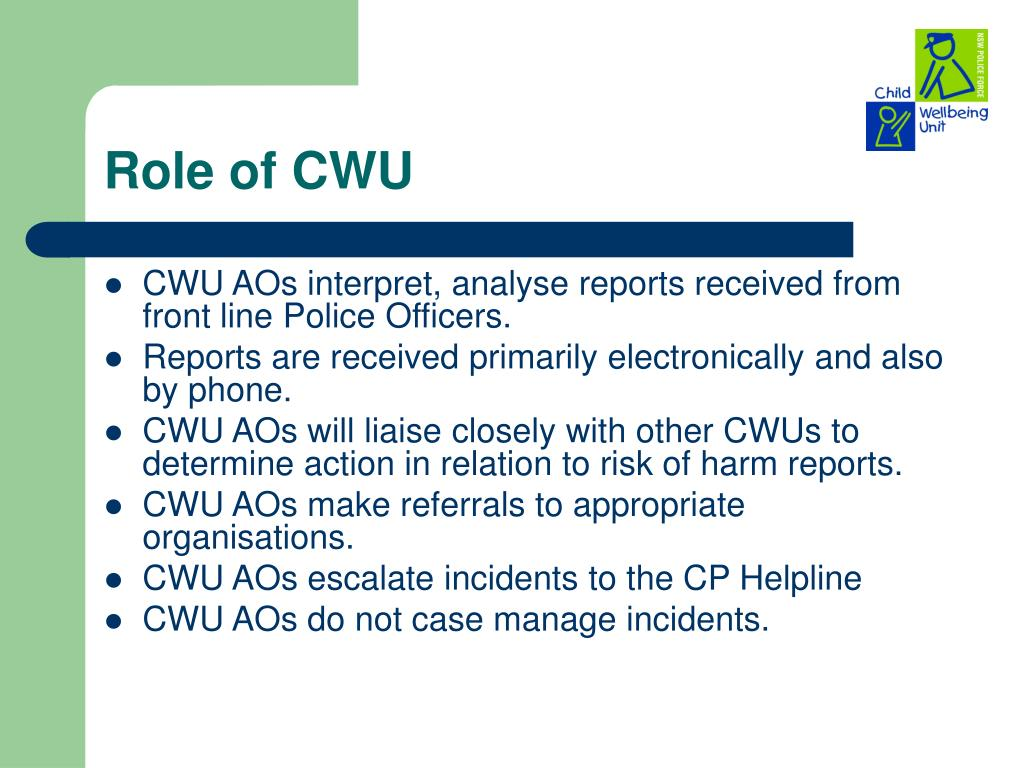 Role of CWU