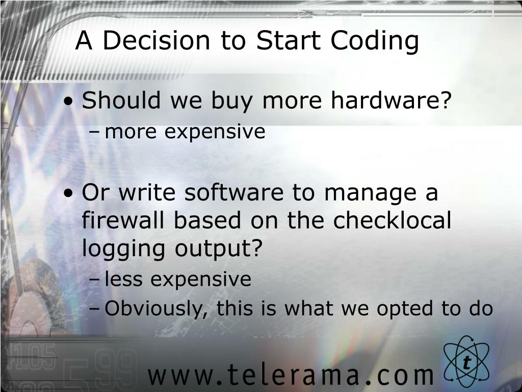 A Decision to Start Coding