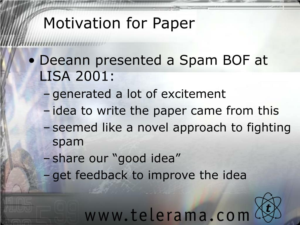 Motivation for Paper