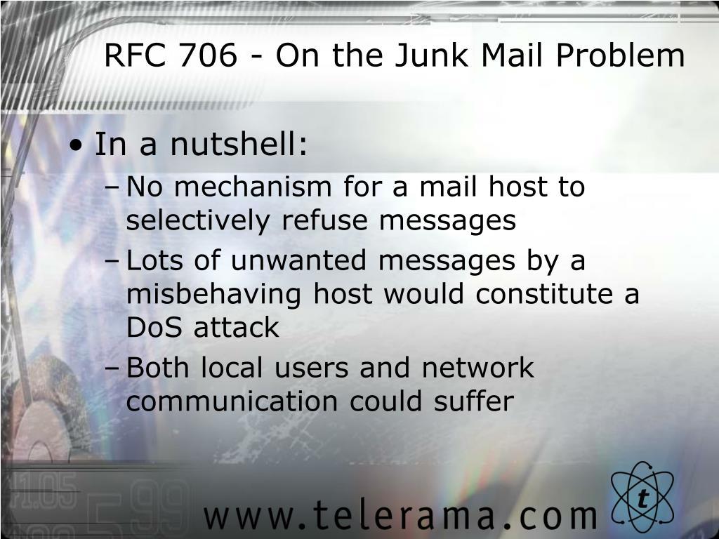RFC 706 - On the Junk Mail Problem
