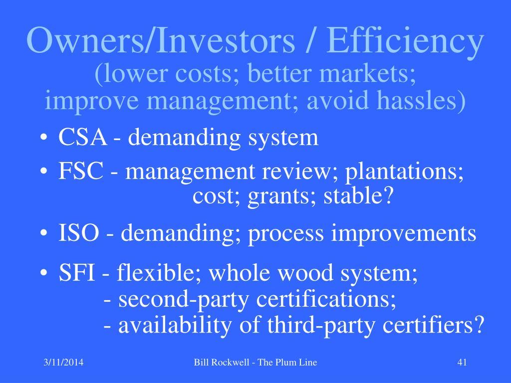 Owners/Investors / Efficiency