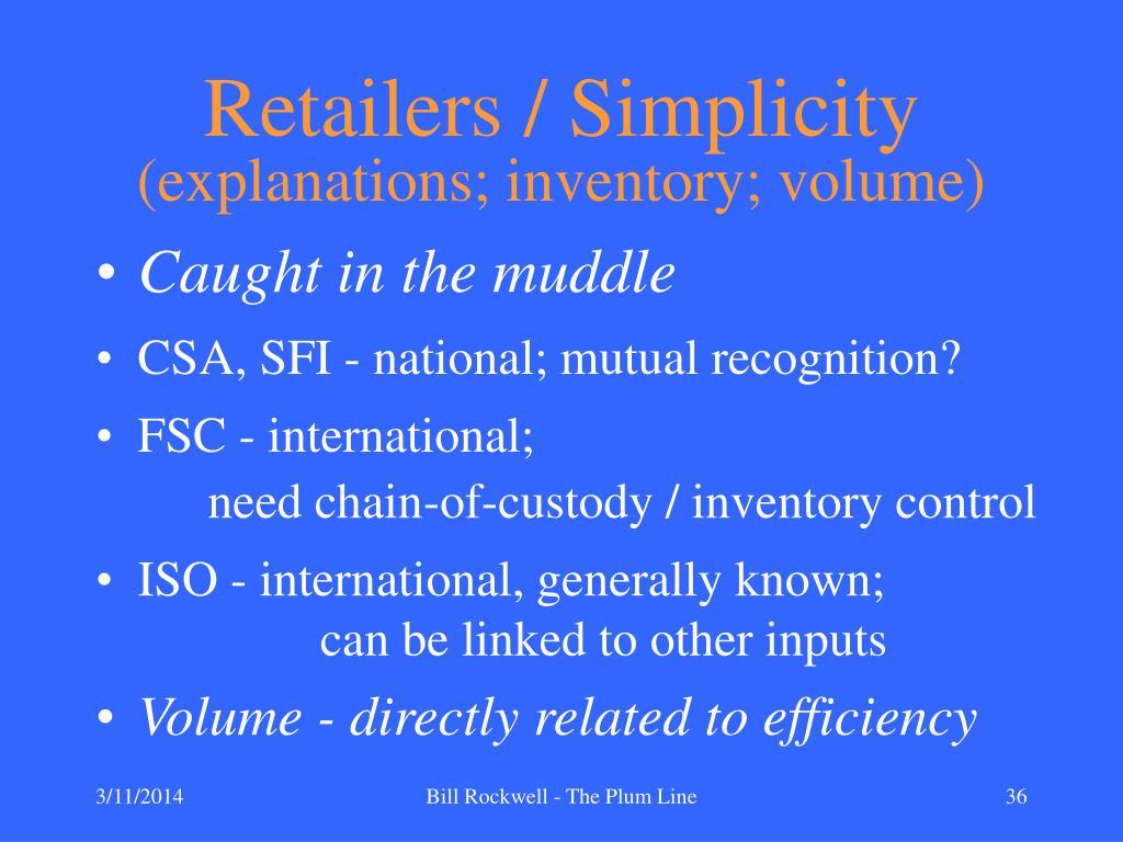 Retailers / Simplicity