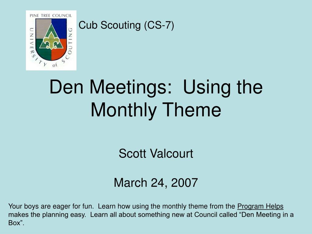 den meetings using the monthly theme