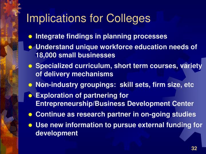 Implications for Colleges