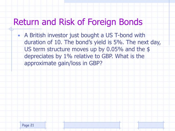 Return and Risk of Foreign Bonds