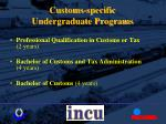 customs specific undergraduate programs