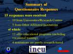 summary of questionnaire responses