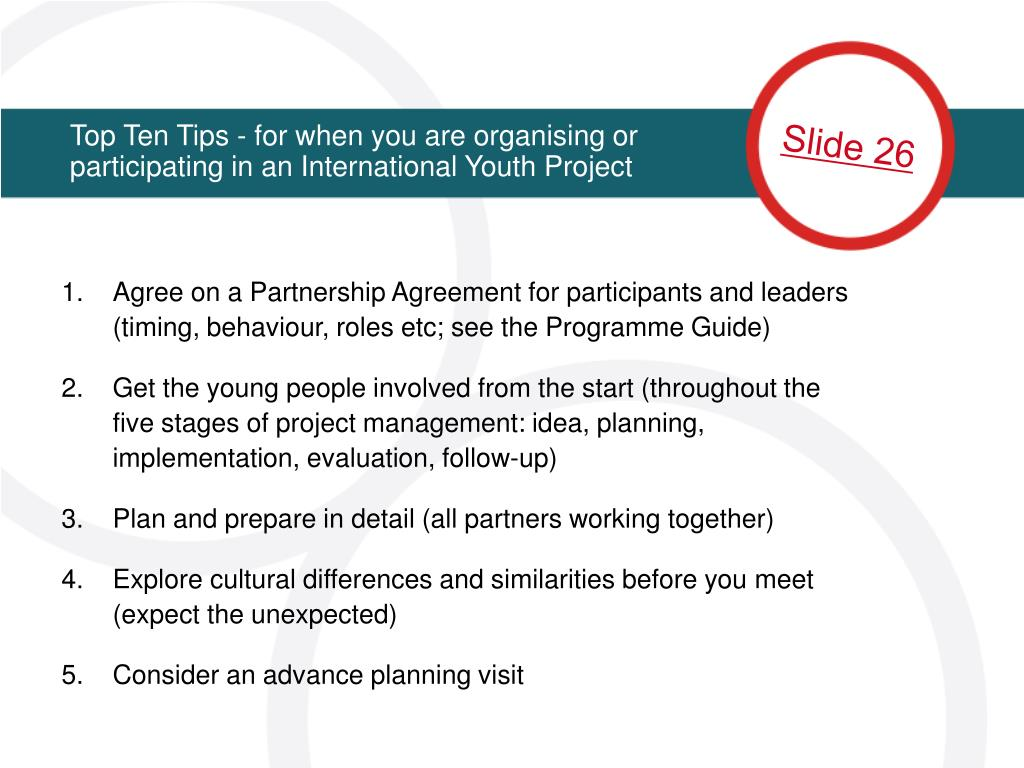 Top Ten Tips - for when you are organising or participating in an International Youth Project