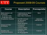 proposed 2008 09 courses