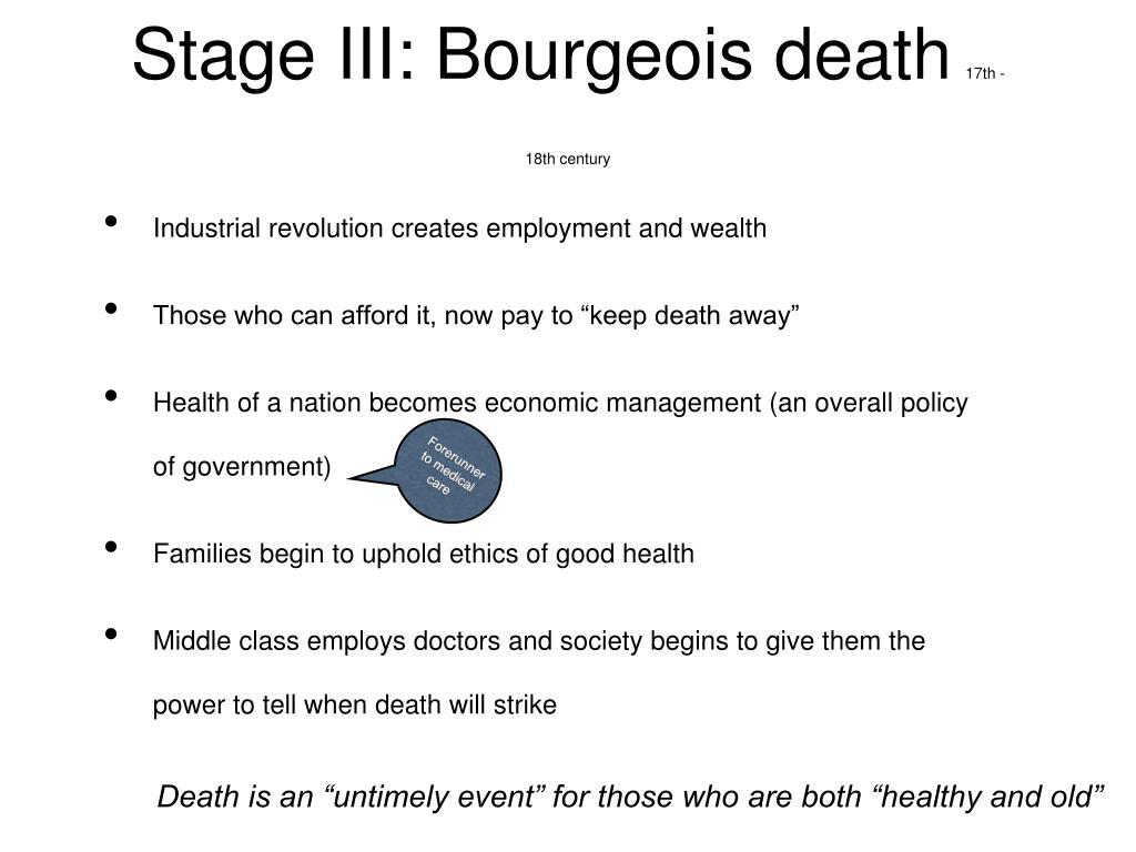 Stage III: Bourgeois death