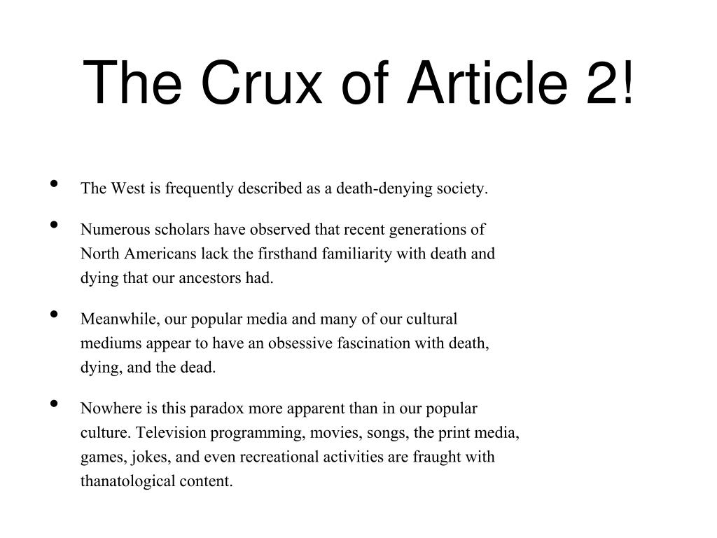 The Crux of Article 2!