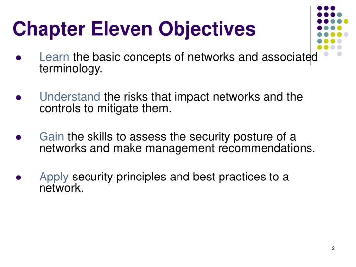 Chapter eleven objectives