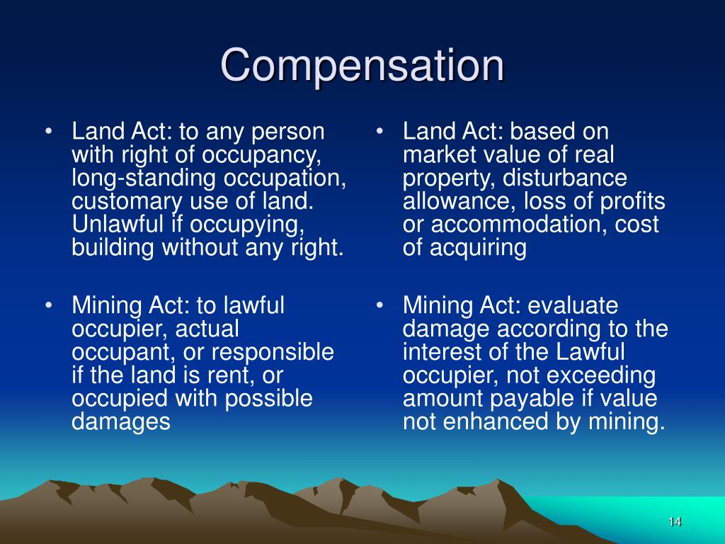 Land Act: to any person with right of occupancy, long-standing occupation, customary use of land. Unlawful if occupying, building without any right.