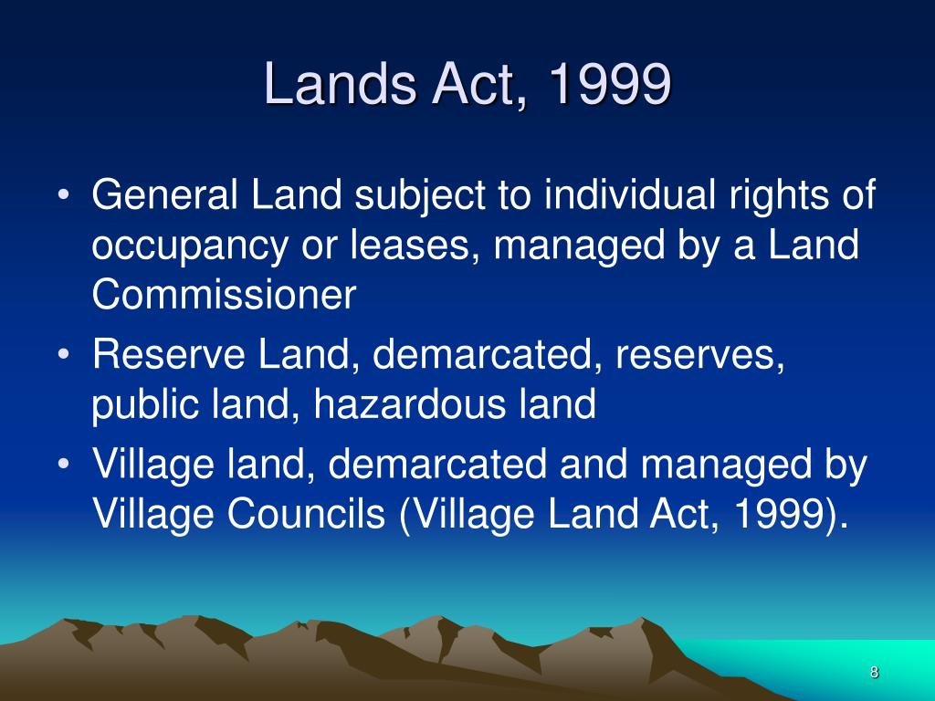 Lands Act, 1999