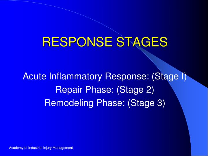 Acute inflammatory response stage i repair phase stage 2 remodeling phase stage 3