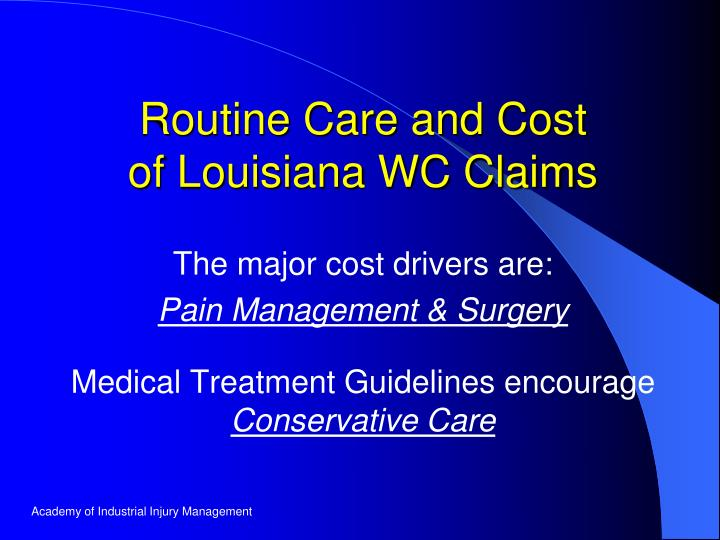 The major cost drivers are: