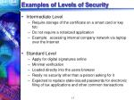 examples of levels of security13