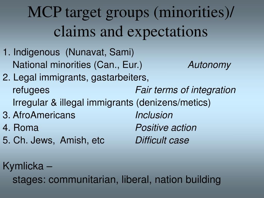 MCP target groups (minorities)/