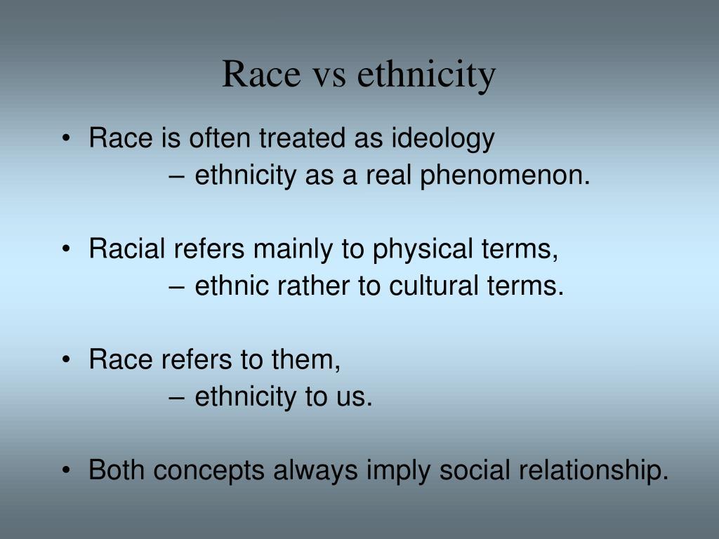 Race vs ethnicity