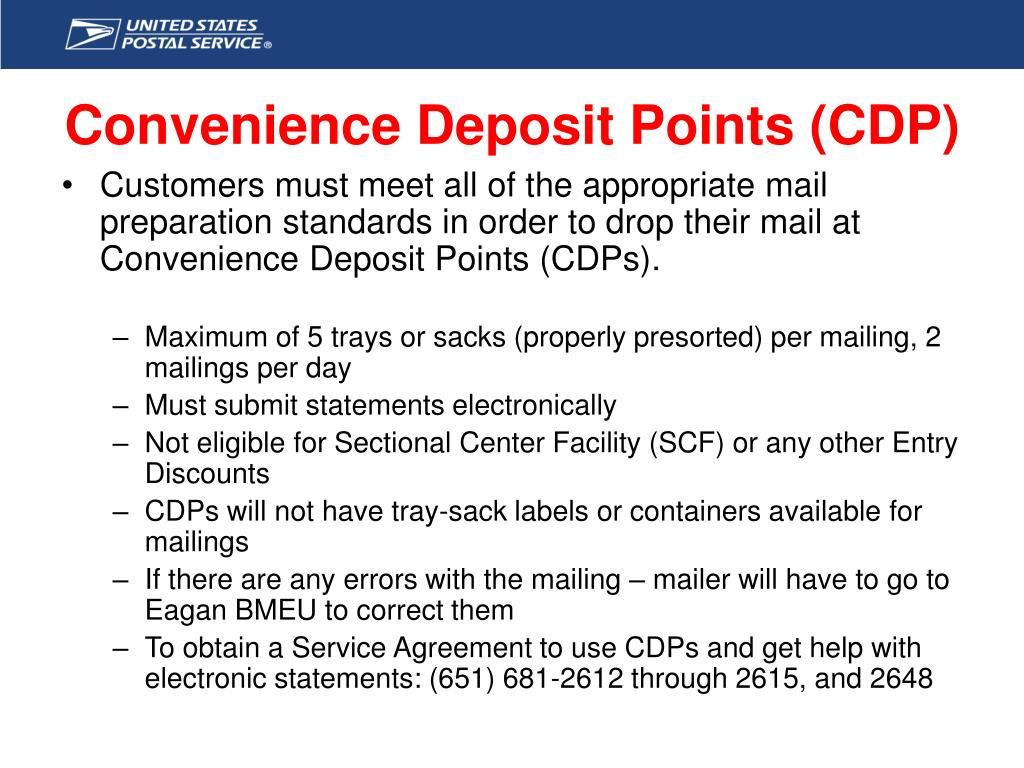 Convenience Deposit Points (CDP)