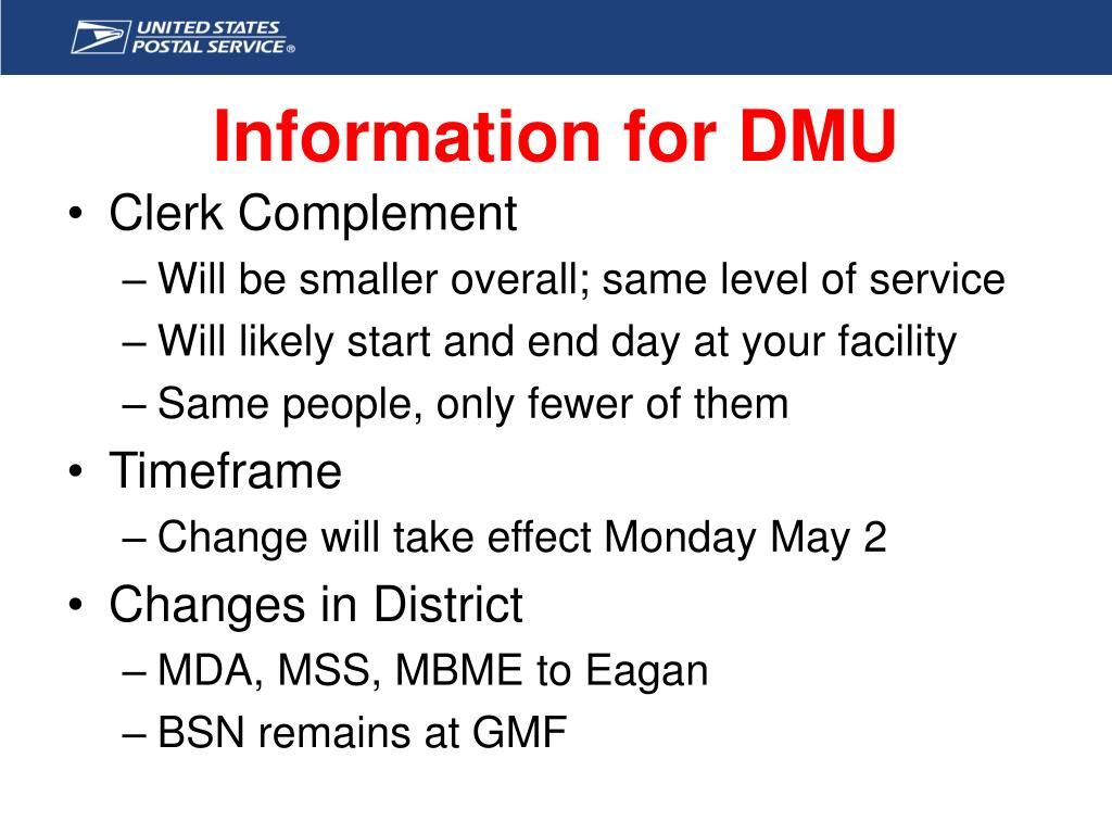 Information for DMU