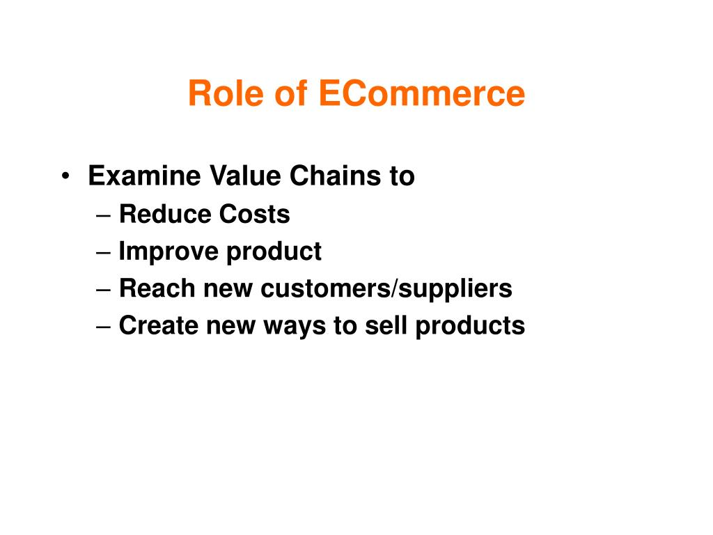 Role of ECommerce